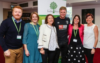 Holt Heath Teaching Alliance annual conference at AFC Bournemouth's Vitality Stadium. The headteaching team with AFC Bournemouth manager Eddie Howe.